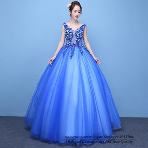 Quinceanera Dresses 2021 Sexy V-Neck Blue Princess Flowers Party Prom Formal Lace Up Tulle Ball Gown Vestidos De 15 Anos Q48