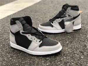 أعلى جودة 1 عالية og shadow 2.0 أسود رمادي كرة السلة أحذية الرجال النساء 1s ضوء الدخان في الهواء الطلق أحذية رياضية 555088-035 مع مربع