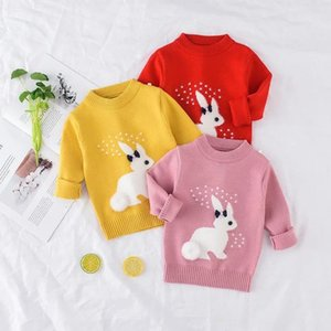 Pullover Girl's Clothing, Children's Cartoon White Knit Sweater, Korean Style Blouse, Baby Sweater