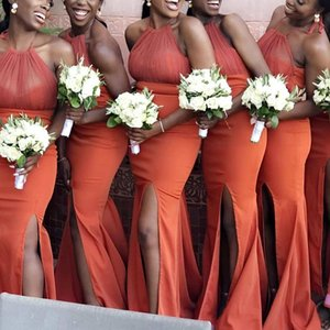 African Girls Coral Colour Bridesmaid Dress Mermaid Halter With Side Split Spring Summer Garden Maid of Honor Gown Wedding Guest Tailor Made Plus Size Available