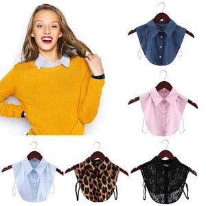 Mujeres desprendible camisa de solapa fake collar moda sólido blusa falsa superior hombres algodón encaje ropa accesorios