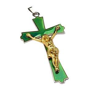 Christian Jesus Kreuz Anhänger Halskette Temperaturempfindliche Stimmung Farbwechsel Halsketten Edelstahl Kette Modeschmuck 433 Q2