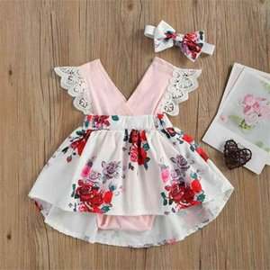2021 Girl princess dress kids lace sleeve one piece dress floral sweet 2 3 4 5 6 years old baby clothes hair belt H49NBHM