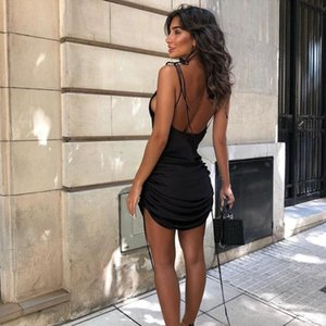 Fashion 2 Colors Solid Spaghetti Straps Backless Sleeveless Sexy Women Dresses Bottom Length Adjustable Drawstring Casual Dress Women's Swim