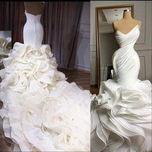 2021 Elegant Mermaid Wedding Dresses Formal Bridal Gowns Sweetheart Pleat Ruffles Tiered Skirt Organza Plus Size Custom Chapel Train vestido de novia