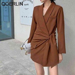 QOERLIN Two Piece Blazer Suit Sets Women Office Elegant Side Lace-Up Blazer Jacket Suit Pink Shorts Suits Blazer Female Suit 210416