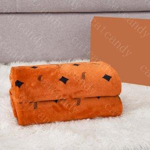 Trendy Orange Blanket Home Bedding Letter Print Sofa Shawl Blankets Winter Warm Rug For Adult Child