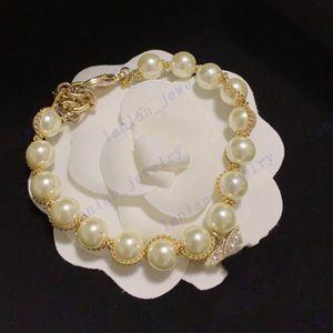 Designer Bracelets Pearl Weave Bracelet Brass Material Classic Letter Logo Luxury Jewelry Wholesale With Box L-C05