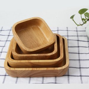 Square Natural Wooden Bowl Durable Thicken Salad Bowls Fruit Meal Bread Holder Tableware Kitchen Accessories