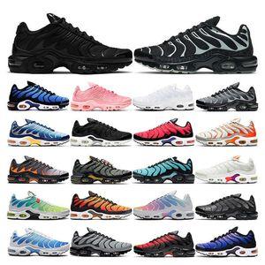 2021 TN Artı Koşu Ayakkabıları Erkek Siyah Beyaz Volt Glow Hiper Mavi Pembe Oreo Kadınlar Nefes Sneaker Eğitmen Açık Spor Moda Boyutu 36-46