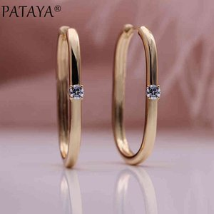PATAYA Unique Square Unusual 585 Rose Gold Symmetry Trendy Drop Earrings One Natural Zircon Women Fashion Jewelry
