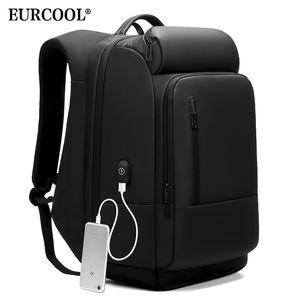 EURCOOL 17 Inch Laptop Backpack For Men Water Repellent Functional Rucksack with USB Charging Port Travel Backpacks Male n1755 LJ210203