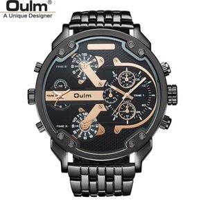 Oulm mode zwei zeit zone mann armbanduhr super big zifferblatt mann uhr männer sportuhren armbanduhren