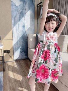 Summer sweet baby girl dresses 2021 kids Girls Short Sleeve floers Dress Cute children Cotton Clothes