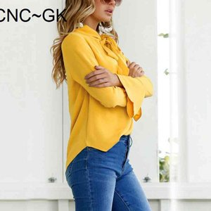 Fashion Women Blouses Ladies Tops Bow Office Chiffon Blouse V-neck Flare Long Sleeve Shirt Female Casual Spring Blusas MujerDDJ5{category}