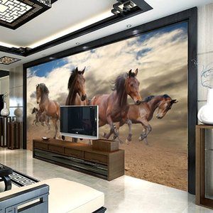 Custom 3D wallpaper Mural Stereoscopic Gallopn Horse Home Decoration Wall Art Living Room Bedroom Self Adhesive Wallpaper