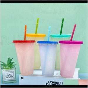 Mugs Drinkware Kitchen Dining Bar Home Garden Drop Delivery 2021 700Ml 24Oz Color Changing With St Ecofriendly Coffee Tumbler Travel Cold Cup
