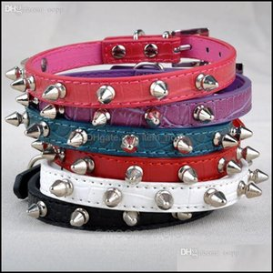 Leashes Supplies Home & Gardenwholesale- Chic Cat Dog Rivet Collar Spiked Studded Strap Collars Buckle Neck Pu Leather Pet Products Drop Del