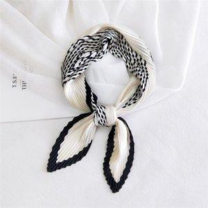 Fashion Pleated Small Square Satin Silk Scarf Women Sweet Floral Printed Scarves Wrap Handkerchief Head Bandana Designer