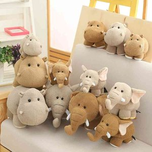 Mini Head Elephant Hug Soft Cartoon Animal Hippo stuffed Doll Cute decoration Baby children Christmas present