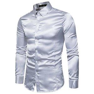 Мужские черные атласные роскошные платья рубашки шелковые гладкие мужчины смокинг рубашка Slim Fit Wedding Party Prom Повседневная Chemise Homme