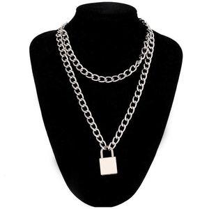 Ожерелья панк цепи ожерелье с замком женщин 90S Egirl Padlock подвески Gothic Emo Grunge эстетические аксессуары ювелирные изделия на шее