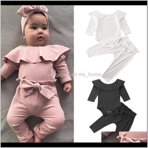 Layette 02Years 2Pcs Toddler Baby Girl Clothes Ruffle Long Sleeve Bodysuit Topsolid Bowknot Pants Trousers Autumn Cotton Outfit Set Wp Ocndn
