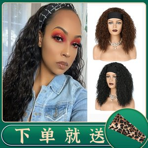 Women's Headscarf Black Small Roll Explosive Head Wig Hairband Headband