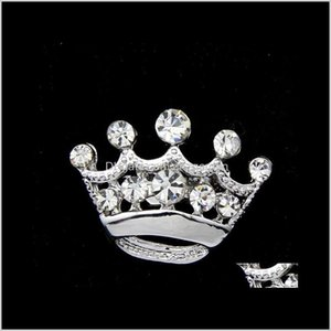 Pins, Drop Delivery 2021 Fashion Sier Tone Clear Crystal Crown Brooch Man Women Rhinestone Diamante Pins Wedding Jewelry Brooches Cor Breastp
