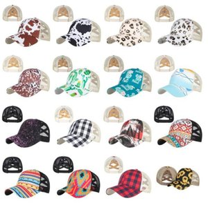 Sunflower Ponytail Hats Criss Cross Baseball Cap Party Favor Woman Washed Mesh Caps Leopard Messy Bun Hat YL591