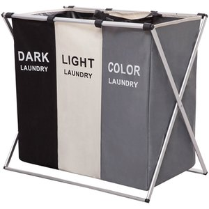 Foldable Dirty Organizer X-shape Printed Collapsible Three Grid Home Hamper Sorter Laundry Basket Large 1287 V2