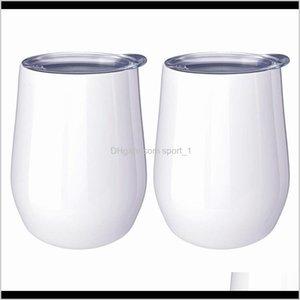 Mugs Diy 12Oz Wine Tumbler Egg Shaped Cups Double Walled Stainless Steel Mug For Sublimation Custom With Lid Ljja37912 Llbz 4Jilf