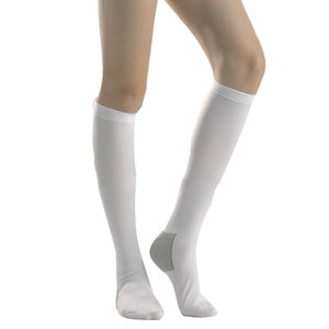 Rongrong Class 1 Anti-thrombus Women's Compression Stockings Medical Knee High White Socks