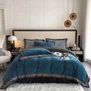 Bedding Sets Milk Cashmere Winnters Bed Linens Cover Duvet Flat Fitted Sheet Pillowcase 4pcs