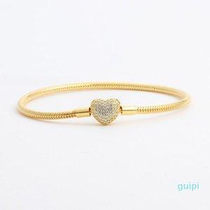 Bracelets de coeur de diamant de diamant en or jaune 18 carats pour pandora 925 Argent Snake Chain Chain Chaîne pour femmes Bijoux de mariage