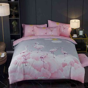 Pink Flamingo Birds Flowers Duvet Cover 100%Cotton Bedding Set Bed Sheet Queen King size 4Pcs Breathable Soft and Easy Care
