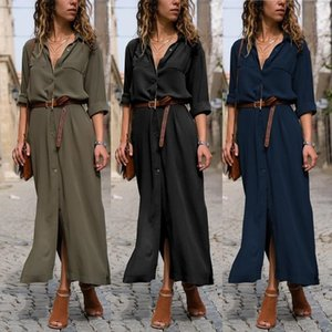 Women Long Sleeve Maxi Blouse Shirt Dress Button Down Lapel Collar Solid Color Sexy Side Split Flowy Streetwear