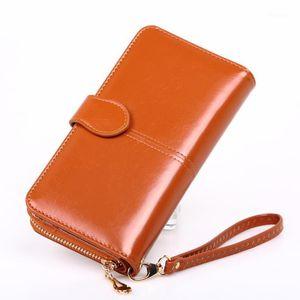 Oil wax leather wallet cross-border oil leather phone bag long zipper coin bag women's card holder bill holder H6801