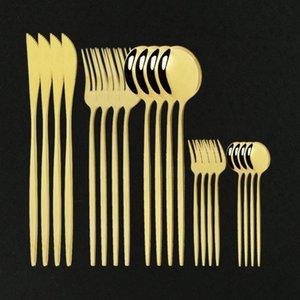 DHL Dinner 20pcs Posate in acciaio inox stoviglie in acciaio inox torta coltello coltello set da stoviglie domestico posate moderno oro specchio specchietto posate1 set1