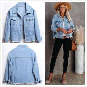 Женские куртки осенью мытье джинсовой куртки с длинным рукавом кнопка вниз свободный парень джинсовая одежда уличная одежда повседневная одежда