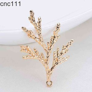 6PCS 36*24MM 24K Gold Color Plated Brass Pine Leaves Tree Leaf Charms Pendants for DIY Jewelry Making Findings