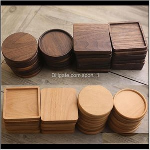 Pads Table Decoration Accessories Kitchen, Dining & Garden Drop Delivery 2021 Black Walnut Coffee Tea Mats Wooden Cup Mat Bowl Pad Teapot Dri