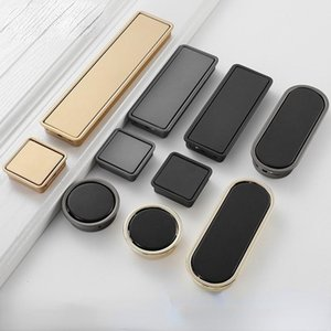 Handles & Pulls Nordic Modern Simple Wardrobe Slotted Frosted Black Gray Furniture Handle Buckle Hidden Embedded Drawer Invisible Pull