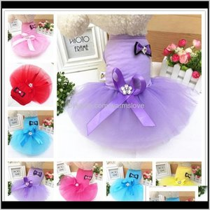 Supplies Home & Garden Drop Delivery 2021 Pet Dog Clothes Colorful Bow Soft Lace Puppy Cat Dress Spring Summer Solid Color Doggy Skirts Appar