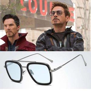 2021 Aoze classique Mode Tony Stark Sunglass Hommes Square Square Homme Steampunk Unisexe Glass UV400 Oculos de Sol