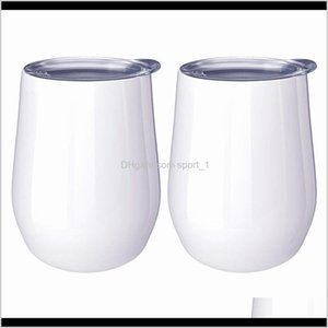 Mugs Diy 12Oz Wine Tumbler Egg Shaped Cups Double Walled Stainless Steel Mug For Sublimation Custom With Lid Ljja37912 Gvfv 2Nquc