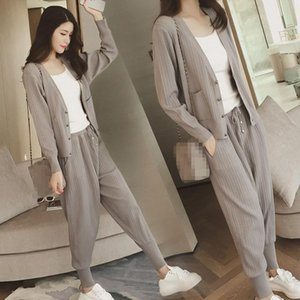Knitted Casual Tracksuit Pant Suits 2021 Fashion 2 Piece Set Women Sweater And Trousers Pants Women's Two