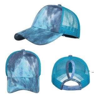 Tie-Dye Ponytail Caps Party Favor Women Summer Sun PeakedCap Outdoor Fashion Breathable Casual Ball Hat FWD6192