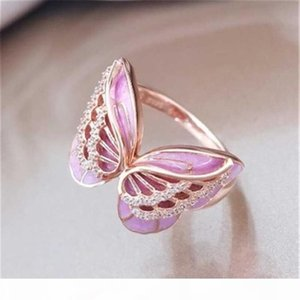 Crystal Butterfly Ring Pink Enamel Animal Butterfly Rings Cluster Rings Wedding Rings Gift for Women Fashion Jewelry 080490