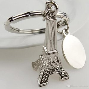 قلادة برج إيفل سلسلة باريس جولة OOA4607 الفضة المفاتيح الفرنسية مفتاح نموذج كيرينغ تذكارية 50 قطع Eiffel QGWSN